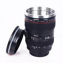 Термокружка с крышкой и поилкой в виде объектива фотоаппарата Canon EF 24 105   Стильная чашка термос, фото 3