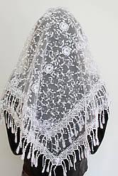 Хустка біла весільна церковна ажурна 230002