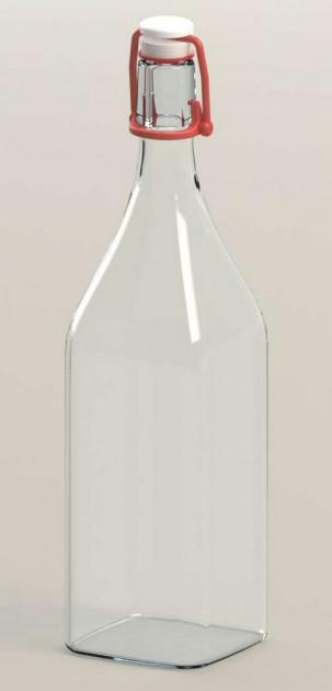 Бутылка стеклянная 1 л Homemade с красным бугельным замком для хранения и подачи напитков Everglass