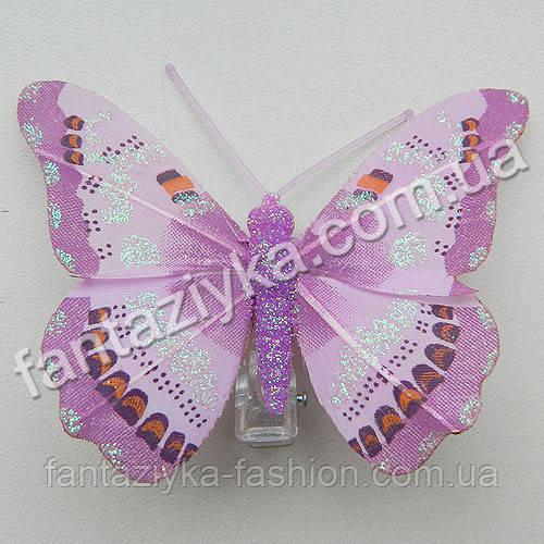 Бабочка с блестками перьевая 7,5см, сиреневая
