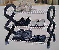 Полка для обуви 3-х ярусная хром/мдф