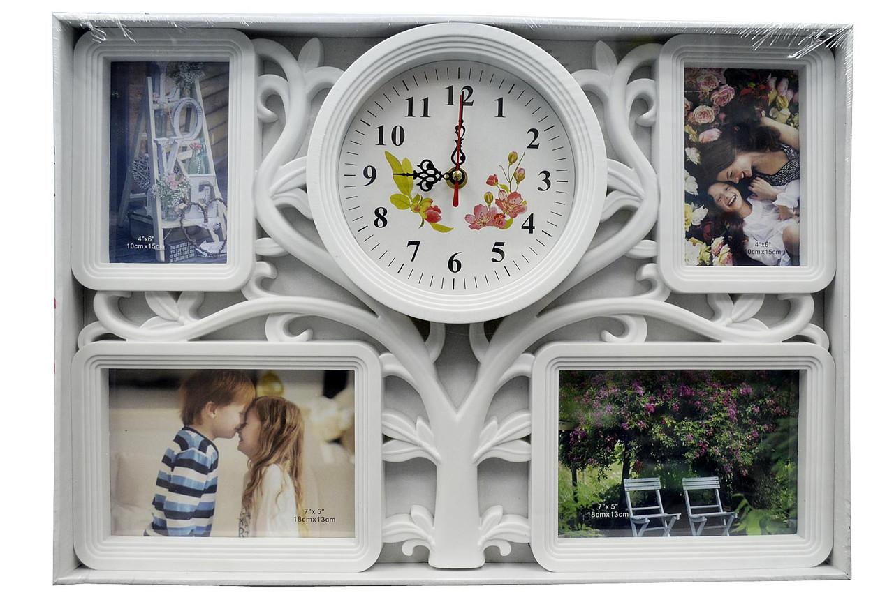 Мультирамка - фоторамка колаж з годинником (рамка для фотографій на стіну)