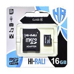 Карта памяти MicroSDHC  16GB UHS-I Class 10 Hi-Rali + SD-adapter (HI-16GBSD10U1-01)