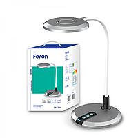 Лампа настольная светодиодная  с регулировкой яркости серебряная Feron DE1731 8W 3000К-4000К-6000К