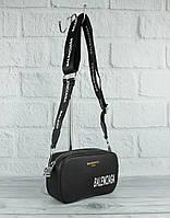 Модный клатч, сумочка через плечо Balenciaga (копия) 9013 черная с текстильным ремешком, фото 1