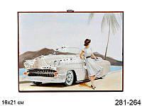 Панно декоративное Ретро белое авто 16*21 см.