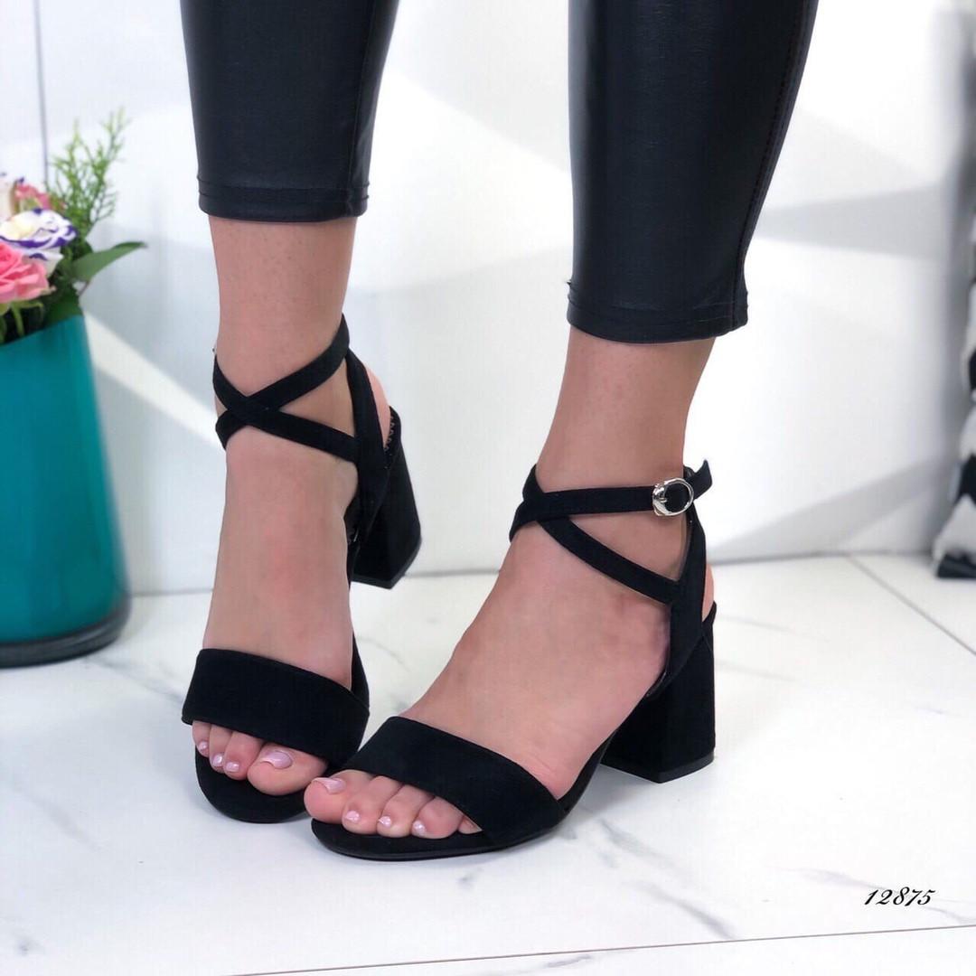Женские босоножки на каблуке черные, экозамша 40 ПОСЛЕДНИЙ РАЗМЕР