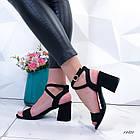 Женские босоножки на каблуке черные, экозамша 40 ПОСЛЕДНИЙ РАЗМЕР, фото 2