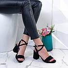 Женские босоножки на каблуке черные, экозамша 40 ПОСЛЕДНИЙ РАЗМЕР, фото 4