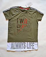 Детская футболка на мальчиков 128-152 размер, цвета хаки