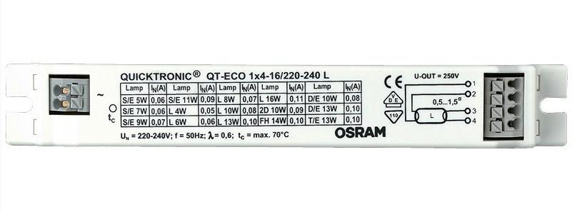 Балласт OSRAM QT-ECO1x4-16/220-240 (T5 1x4/6/8/13W,T8 1x16W,TC 1x5/7/9/10/11/16W)
