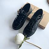 Стильные кеды женские кожаные черные, фото 2