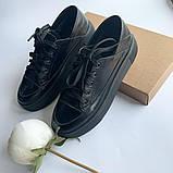 Стильные кеды женские кожаные черные, фото 4