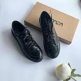 Стильные кеды женские кожаные черные, фото 5