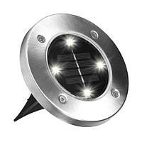 Набор из 4-х солнечных светильников Disk Lights для сада и дома | Уличный светильник на солнечной батарее, фото 1