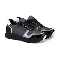 Черные кожаные кроссовки на высокой подошве, фото 1