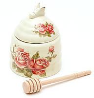 Медовница фарфоровая 12.5см с деревянной палочкой Корейская роза XX882