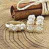 Серебряный набор с золотом Успех кольцо размер 17.5 + серьги 19х9 мм вставка белые фианиты, фото 2