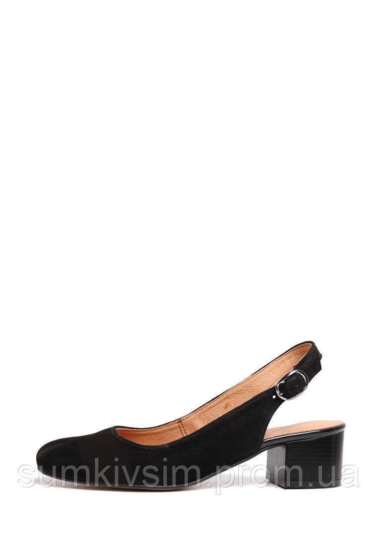 Замшевые черные босоножки на невысоком каблуке