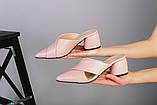 Женские кожаные закрытые шлепанцы на каблуке, фото 3
