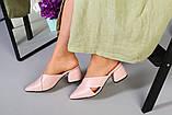 Женские кожаные закрытые шлепанцы на каблуке, фото 5