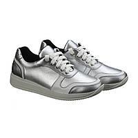 Серебряные кроссовки из натуральной кожи, фото 1
