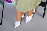 Женские кожаные белые закрытые шлепанцы, фото 4