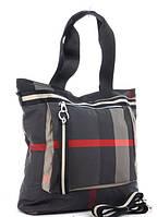 Жіноча тканинна сумка 00112 grey-red Тканинні сумки недорого, текстильні сумки