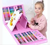 Набор для детского творчества в чемодане из 208 пр. Розовый | Набор для рисования Чемоданчик юного художника