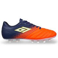 Бутсы-копы футбольные взрослые мужские без носков DIFENO Темно-синий-оранжевый (СПО 888) 39