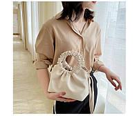 Модная женская сумка через плечо - Бежевая, фото 2