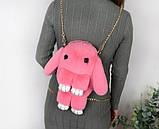 Детская сумка рюкзак меховой заяц, фото 2