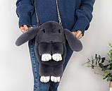 Детская сумка рюкзак меховой заяц, фото 3