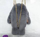 Детская сумка рюкзак меховой заяц, фото 4