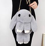 Детская сумка рюкзак меховой заяц, фото 5