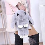 Детская сумка рюкзак меховой заяц, фото 6