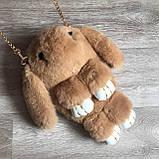 Детская сумка рюкзак меховой заяц, фото 9