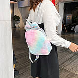 Детский меховой рюкзак Единорог, фото 5