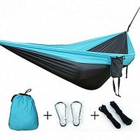 Гамак Travel hammock туристический серо-голубой   Гамак-качели подвесной нейлоновый