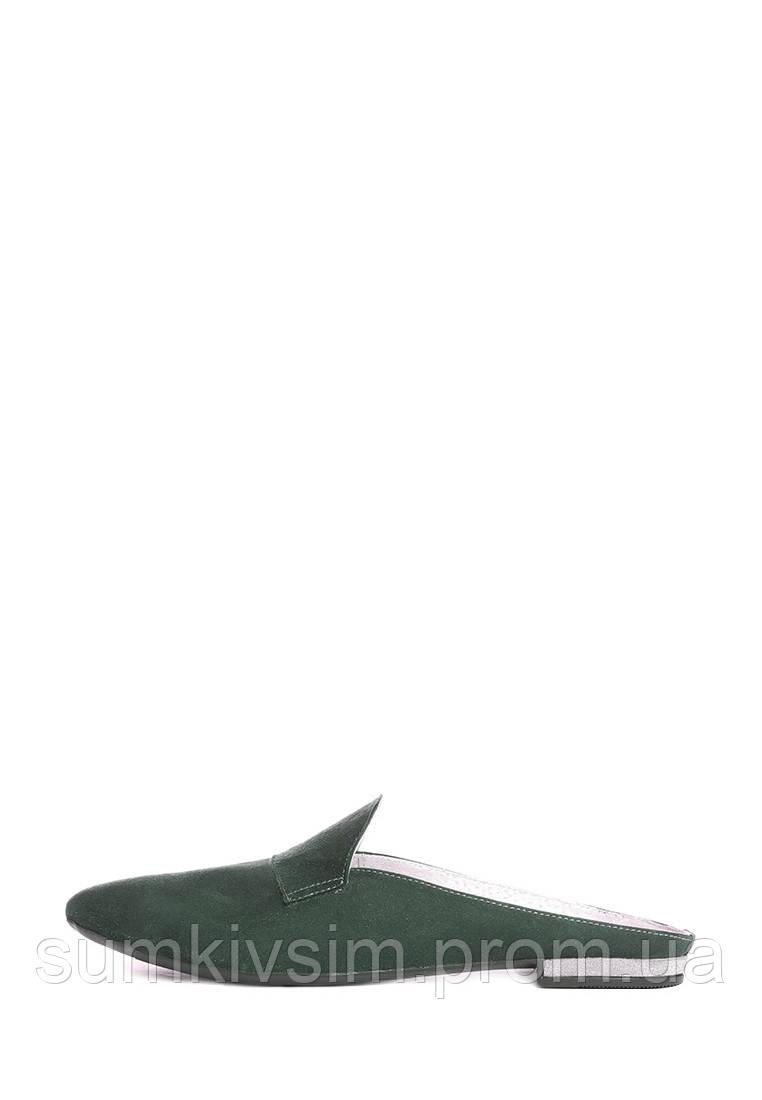 Замшевые мюли зеленого цвета