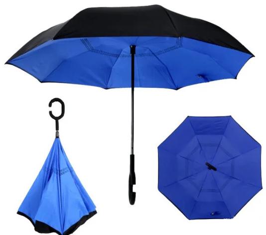 Ветрозащитный зонт Up-Brella | антизонт | зонт обратного сложения | зонт наоборот Синий
