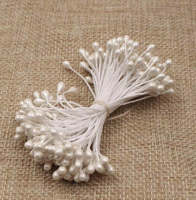 Тычинки для цветов капельки, белые ~100 шт