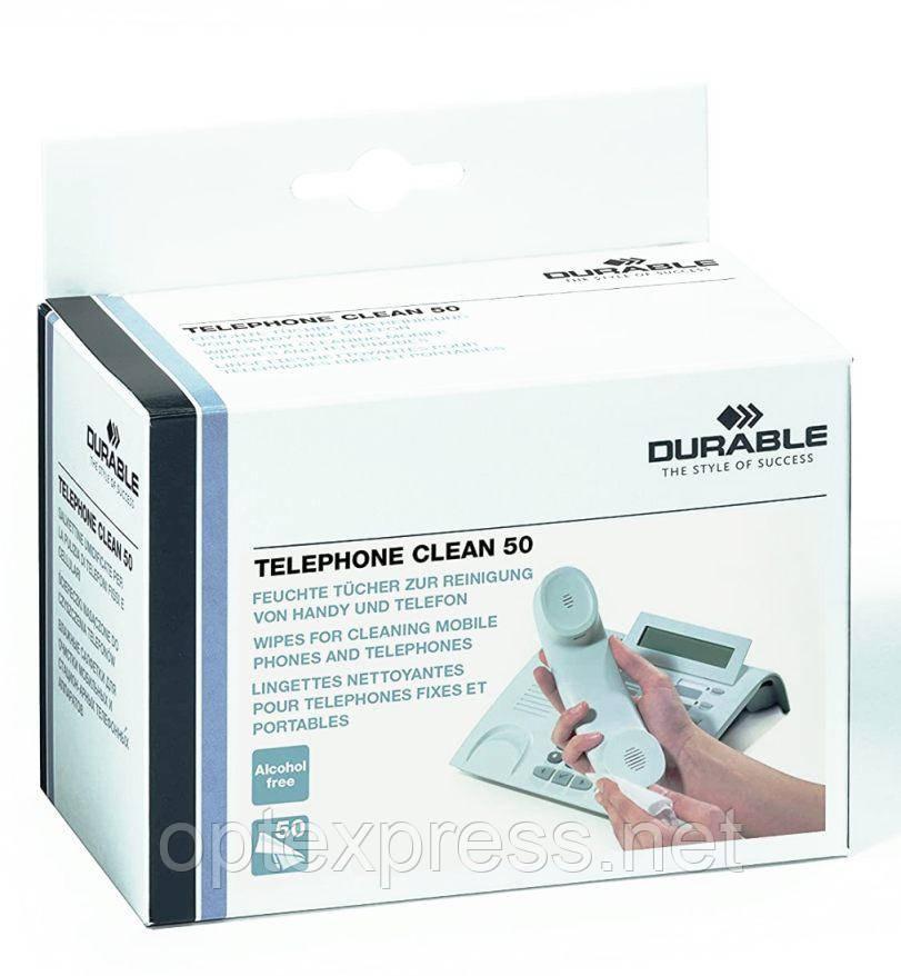 Салфетки для чистки телефонов TELEPHONE CLEAN BOX 50  DURABLE 5785 02