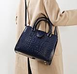 Женская лакированная сумка Крокодил Синий, фото 3