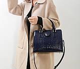Женская лакированная сумка Крокодил Синий, фото 4