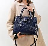 Женская лакированная сумка Крокодил Синий, фото 5
