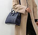 Женская лакированная сумка Крокодил Синий, фото 6