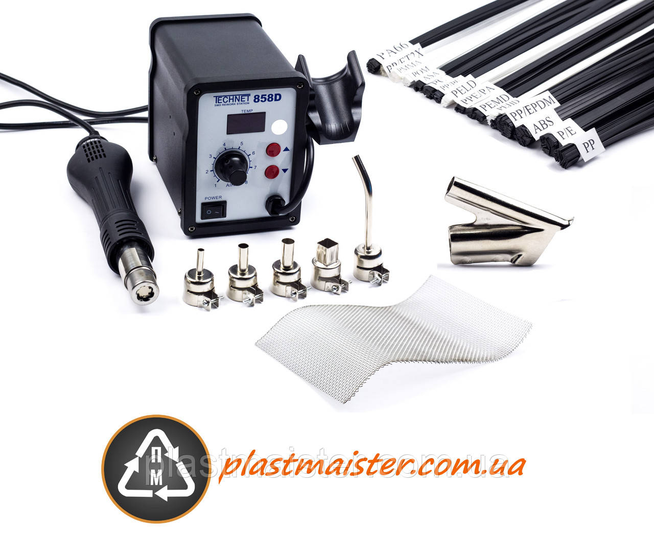 Паяльная станция для ремонта пластика - 858D + 6 сопел + сетка + пластик