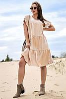 Красивое льняное платье на кокетке 1358 (44–50р) в расцветках, фото 1