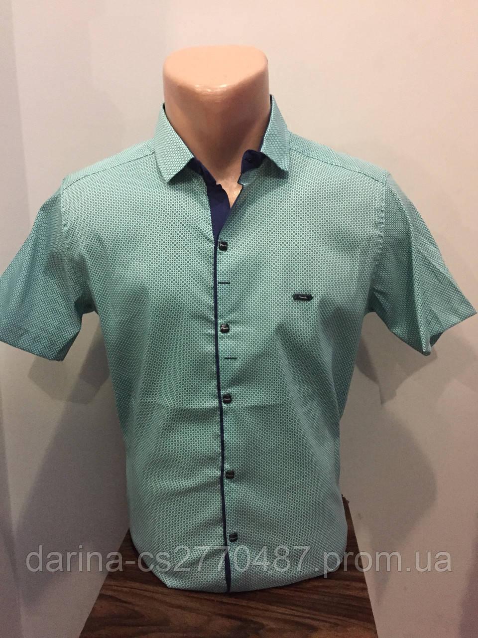 Рубашка мужская с коротким рукавом L